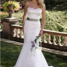 mermaid sweetheart court train satin strapless wedding dresses with sashes