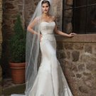 mermaid sweetheart chapel train satin lace strapless wedding dresses with lace sashes