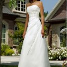 a-line/princess chapel train organza satin strapless wedding dresses