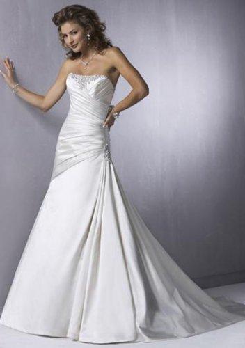 a-line/princess chapel train satin strapless wedding dresses
