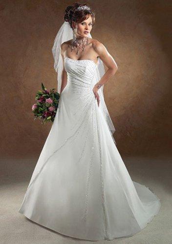 a-line/princess chapel train chiffon satin strapless wedding dresses