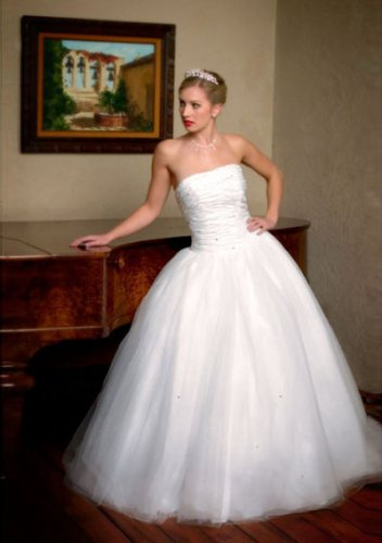 ball-gown floor-length taffeta tulle strapless wedding dresses