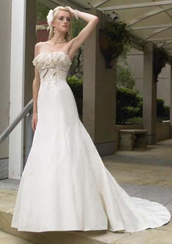 empire chapel train satin strapless wedding dresses