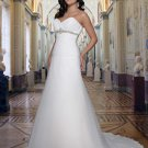 a-line/princess sweetheart chapel train chiffon satin strapless wedding dresses