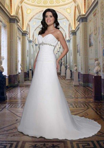 a-line/princess sweetheart chapel train chiffon satin strapless wedding dresses