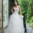 ball-gown sweetheart sweep train organza satin strapless wedding dresses