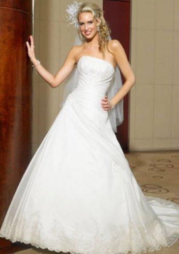 a-line/princess chapel train organza satin strapless wedding dresses