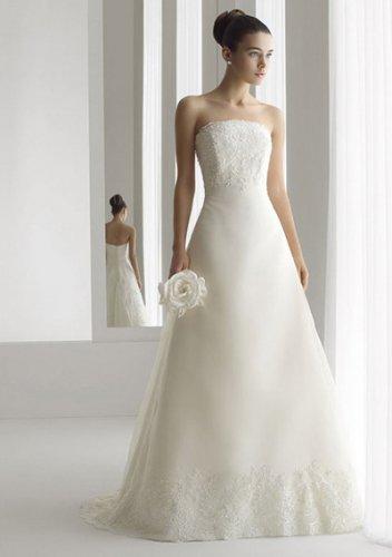 a-line/princess court train organza satin strapless wedding dresses