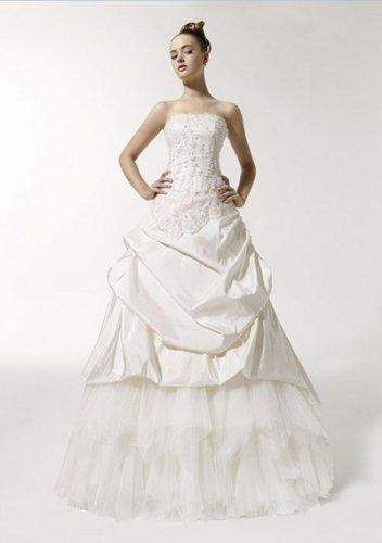 a-line/princess court train taffeta tulle strapless wedding dresses
