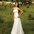 A-Line/Princess Strapless Chapel Train Taffeta Lace Wedding Dresses with Ruffle Beadwork (002001706)