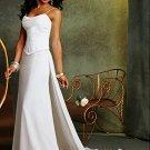 Sheath/Column Cowl Neck Chapel Train Chiffon Charmeuse Wedding Dresses with Ruffle (002001169)