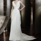 Sheath/Column V-neck Court Train Chiffon Charmeuse Wedding Dresses with Ruffle (002000565)