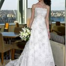 A-Line/Princess Strapless Chapel Train Satin Lace Wedding Dresses