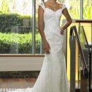 Mermaid V-neck Court Train Chiffon Charmeuse Lace Wedding Dresses(002000128)