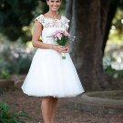 Keen Length Embroider Round Neck Chiffon Cheap Wedding Dresses
