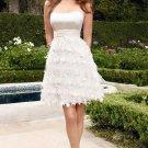 Short Strapless Satin Cheap Wedding Dresses