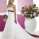 A-Line/Princess Strapless Chapel Train colored wedding dresses