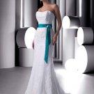 Princess Embroider With Blue Sash colored wedding dresses