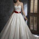 Princess Spaghetti Straps With Red Sash colored wedding dresses