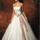 Strapless Cheap Sash Puffed colored wedding dresses