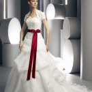 Strapless Embroider With Red Sash Pleated colored wedding dresses