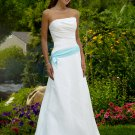 Strapless With Blue Sash colored wedding dresses