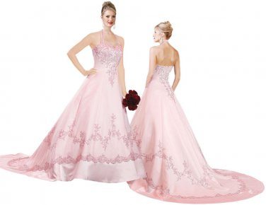 A-Line Pink Bridal Wear princess colored wedding dresses