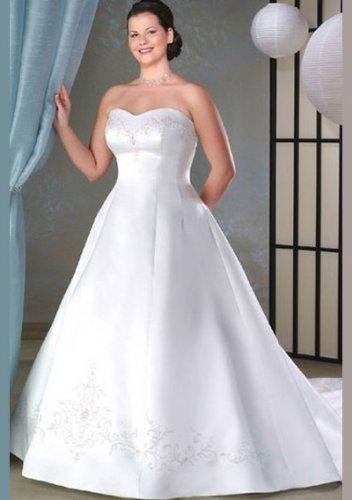 A-line Sweetheart Chapel Train Satin Plus Size Wedding Dress
