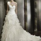 A-Line/Princess One-Shoulder Chapel Train Organza princess wedding dresses
