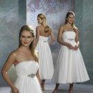 fall 2010 tea length short wedding dresses in white strapless