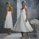 strapped white short wedding dresses with v neckline & tea length