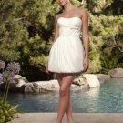 scoop white modern mini baby doll short wedding dresses