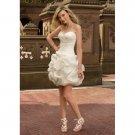organza strapless sweetheart neckline short wedding dresses