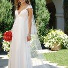 White V-neck Waist simple wedding dresses
