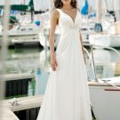 White Deep V-neck Beading Pleated simple wedding dresses