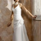 White V-neck Applique Pleated simple wedding dresses