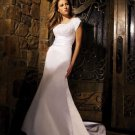 Mermaid Square Neckline Chapel Train vintage wedding dresses