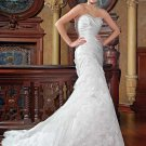 Strapless Floor Length Attached Satin/ Lace vintage wedding dresses