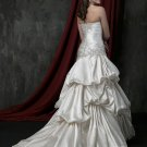 A-Line Sweetheart Floor Length Attached Satin Beading vintage wedding dresses