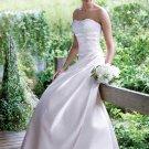 A-Line Strapless Floor Length Satin Beading vintage wedding dresses