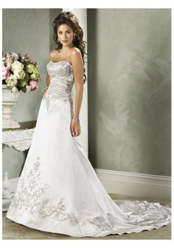 Slim a-line gown with lace-up strapless wedding dresses