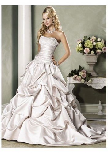 Satin beaded  a-line strapless wedding dresses