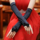 Bridal Gloves fingerless black satin