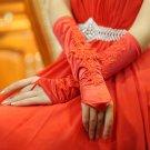 Noble red Fingerless Bridal Gloves