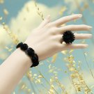 Lace flower bracelet with ring