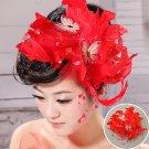 Red Ribbon bride head flower