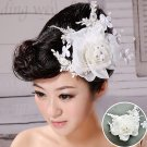 White minimalist bride head flower