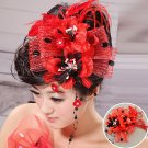 Bridal jewelry red head flower