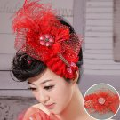 Feathers red wedding flower head