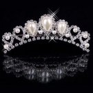 Bridal pearl diamond crown